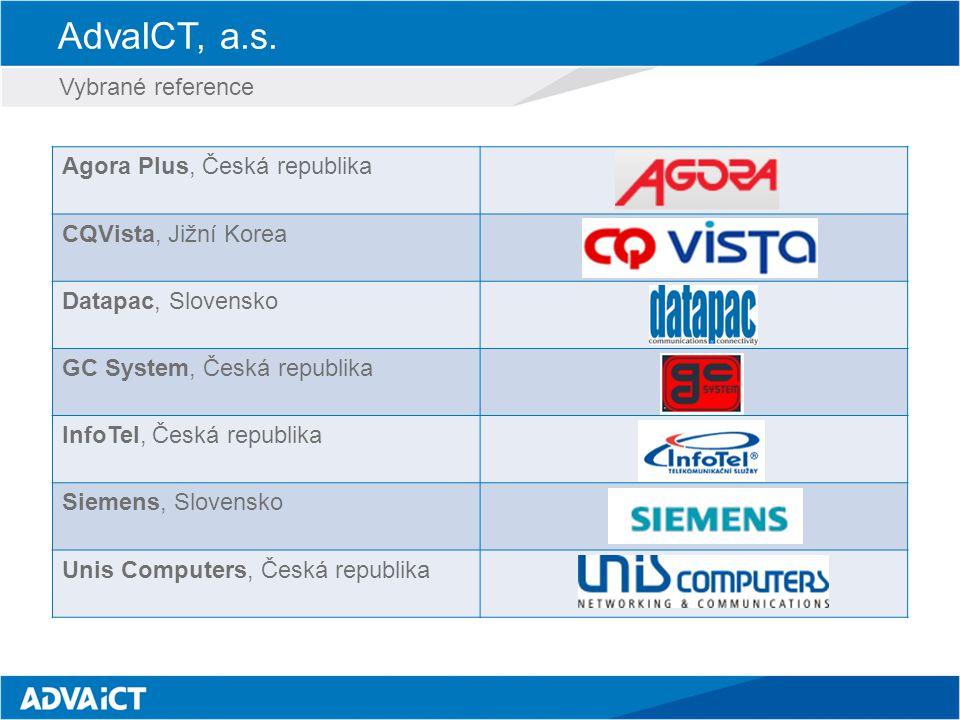 AdvaICT, a.s. Vybrané reference Agora Plus, Česká republika CQVista, Jižní Korea Datapac, Slovensko GC System, Česká republika InfoTel, Česká republik