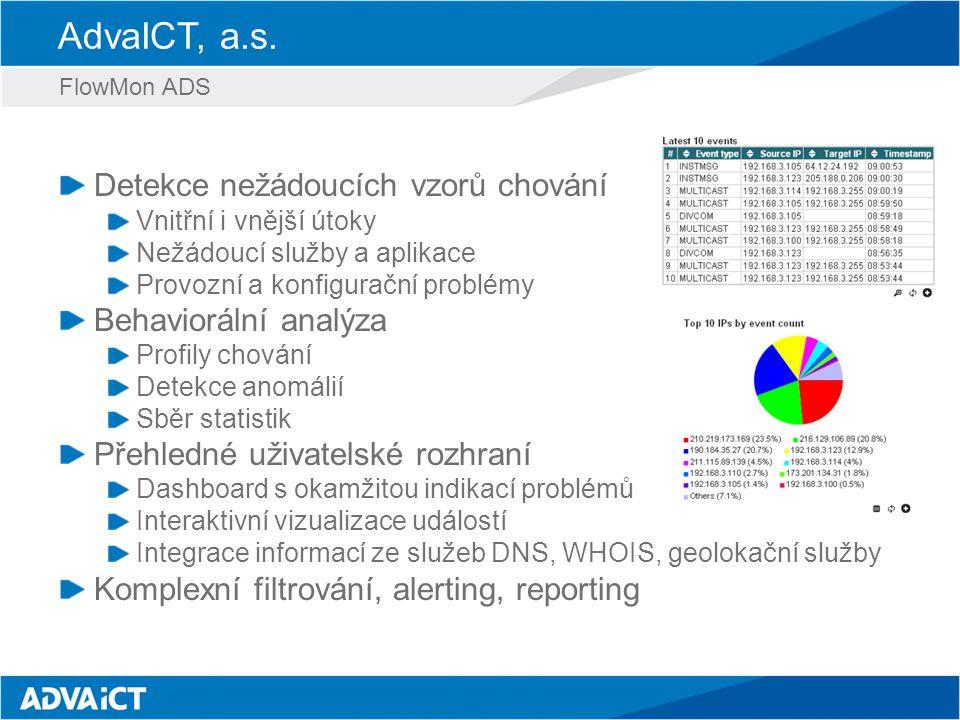 AdvaICT, a.s. FlowMon ADS Detekce nežádoucích vzorů chování Vnitřní i vnější útoky Nežádoucí služby a aplikace Provozní a konfigurační problémy Behavi