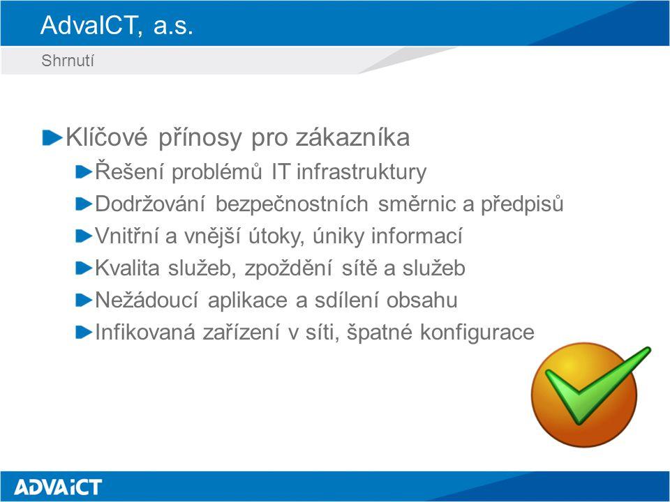 AdvaICT, a.s. Klíčové přínosy pro zákazníka Řešení problémů IT infrastruktury Dodržování bezpečnostních směrnic a předpisů Vnitřní a vnější útoky, úni