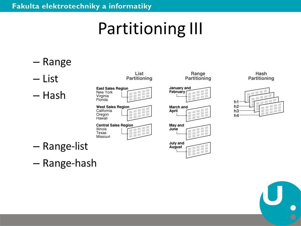 Partitioning III – Range – List – Hash – Range-list – Range-hash