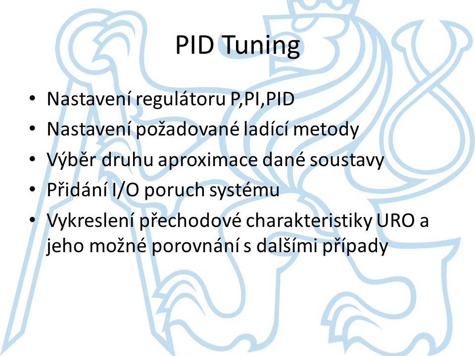 PID Tuning Nastavení regulátoru P,PI,PID Nastavení požadované ladící metody Výběr druhu aproximace dané soustavy Přidání I/O poruch systému Vykreslení