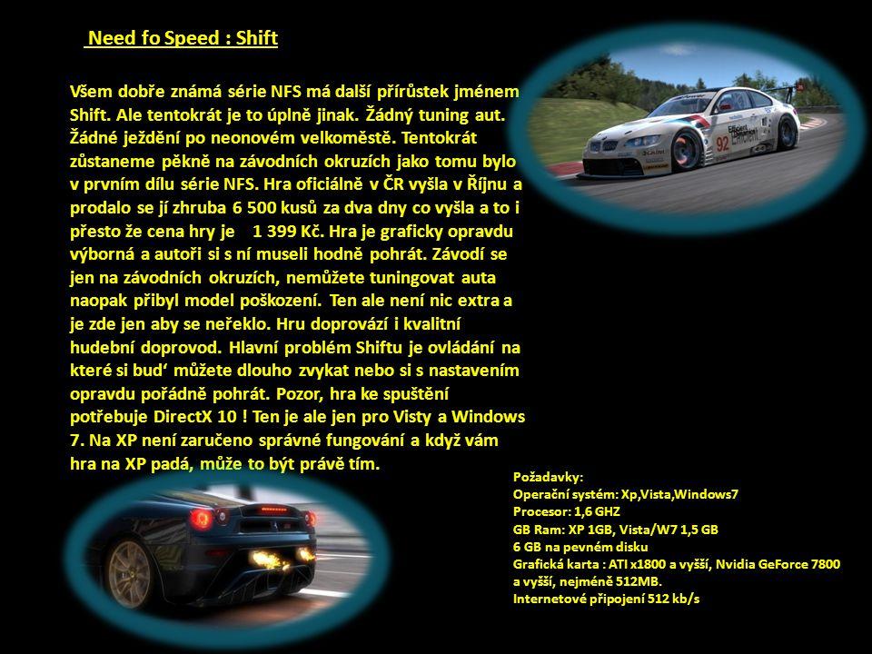 Need fo Speed : Shift Všem dobře známá série NFS má další přírůstek jménem Shift.