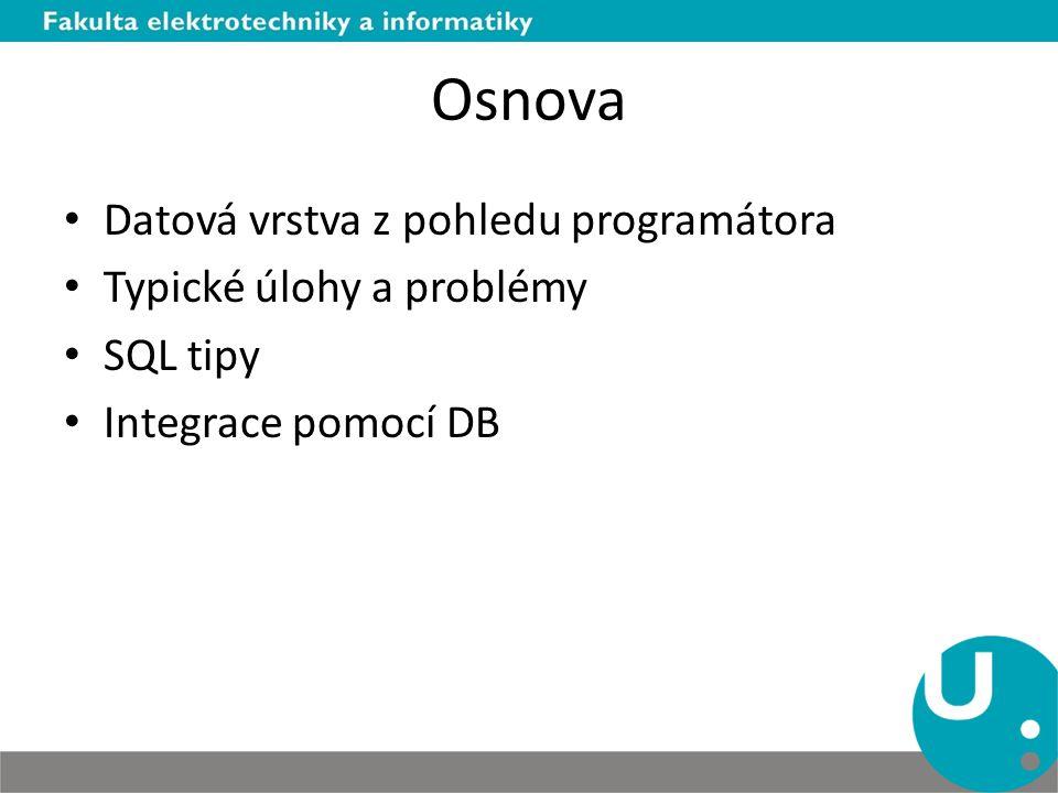 Osnova Datová vrstva z pohledu programátora Typické úlohy a problémy SQL tipy Integrace pomocí DB
