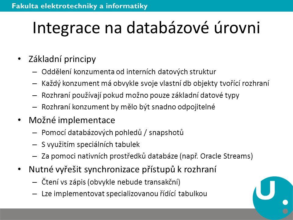 Integrace na databázové úrovni Základní principy – Oddělení konzumenta od interních datových struktur – Každý konzument má obvykle svoje vlastní db objekty tvořící rozhraní – Rozhraní používají pokud možno pouze základní datové typy – Rozhraní konzument by mělo být snadno odpojitelné Možné implementace – Pomocí databázových pohledů / snapshotů – S využitím speciálních tabulek – Za pomoci nativních prostředků databáze (např.