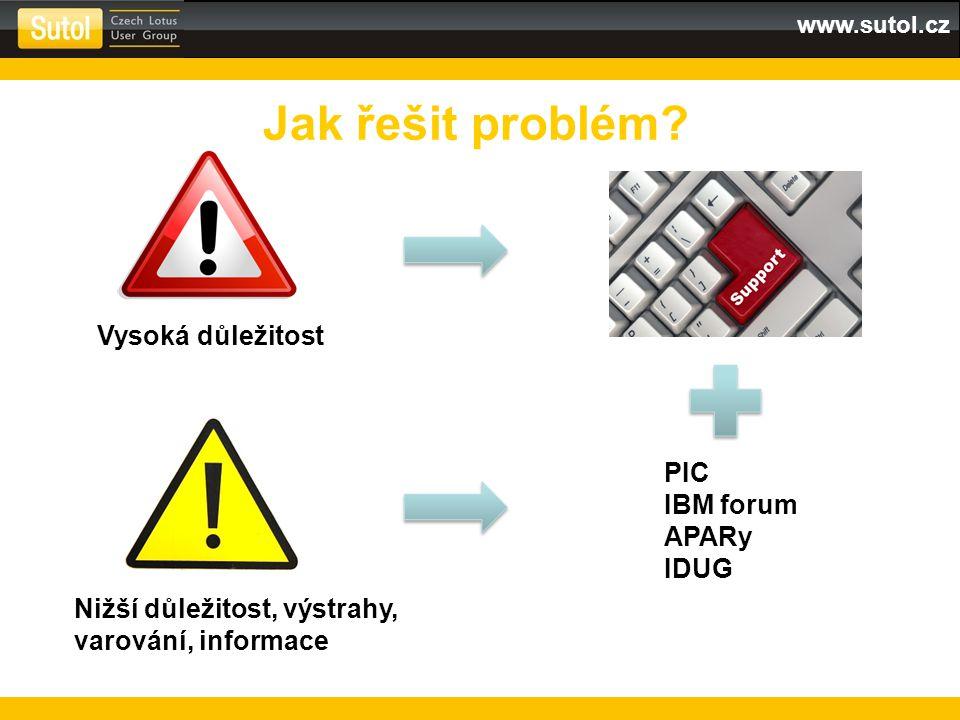 www.sutol.cz Jak řešit problém? Vysoká důležitost Nižší důležitost, výstrahy, varování, informace PIC IBM forum APARy IDUG