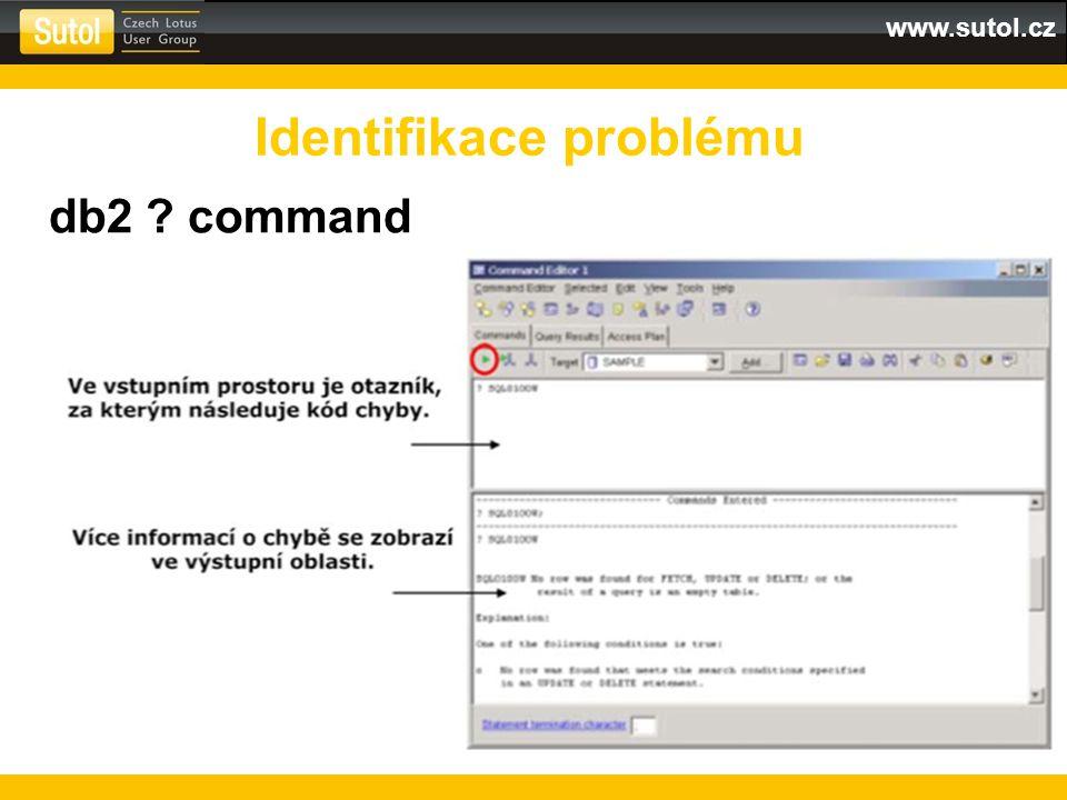 www.sutol.cz db2 ? command Identifikace problému