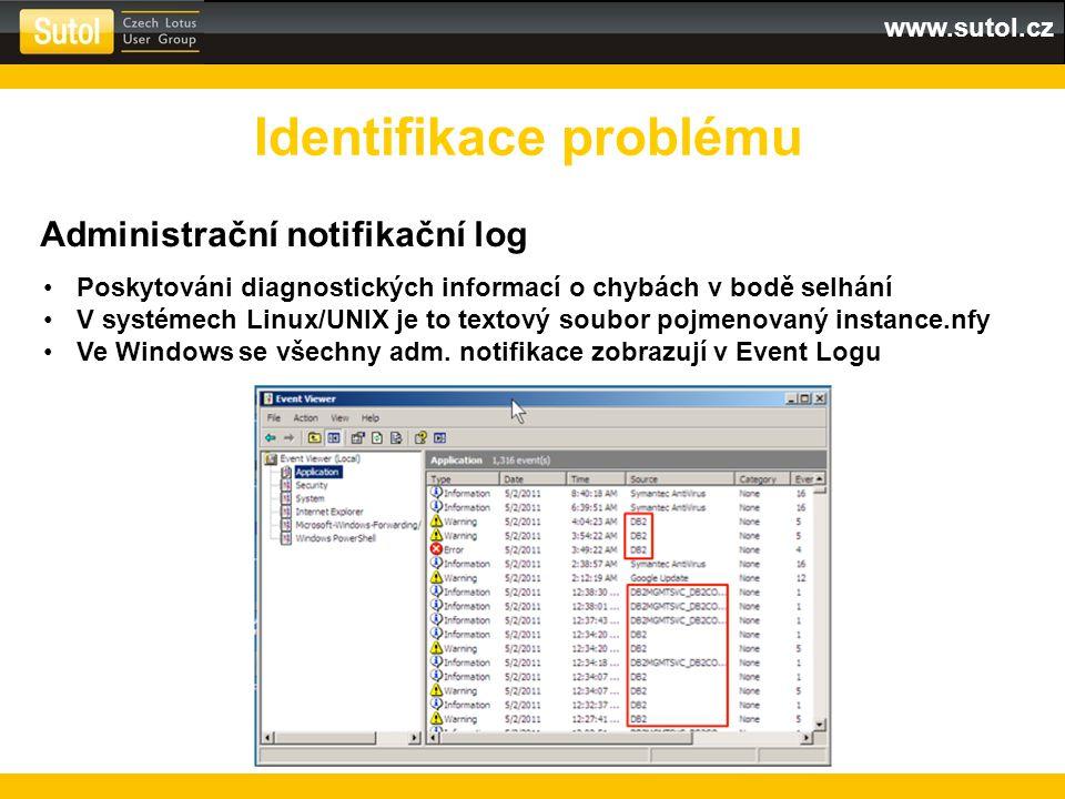 www.sutol.cz Identifikace problému Administrační notifikační log Poskytováni diagnostických informací o chybách v bodě selhání V systémech Linux/UNIX