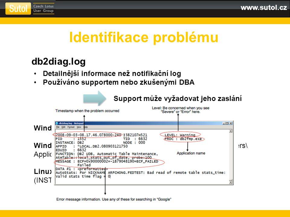 www.sutol.cz Identifikace problému db2diag.log Detailnější informace než notifikační log Používáno supportem nebo zkušenými DBA Support může vyžadovat