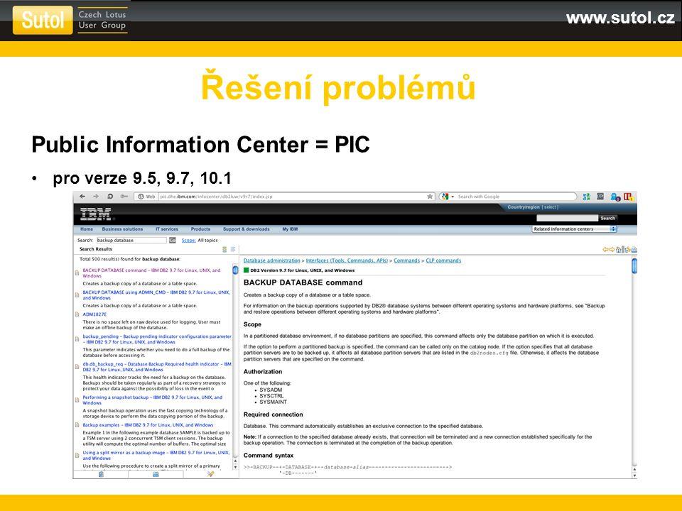 www.sutol.cz Řešení problémů Public Information Center = PIC pro verze 9.5, 9.7, 10.1