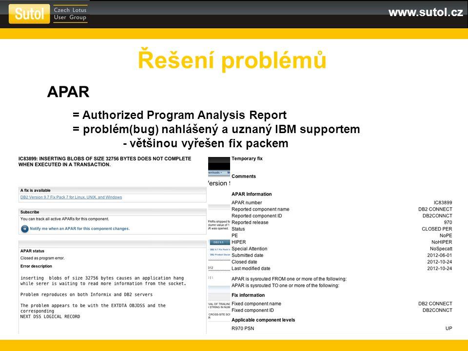 www.sutol.cz Řešení problémů APAR = Authorized Program Analysis Report = problém(bug) nahlášený a uznaný IBM supportem - většinou vyřešen fix packem