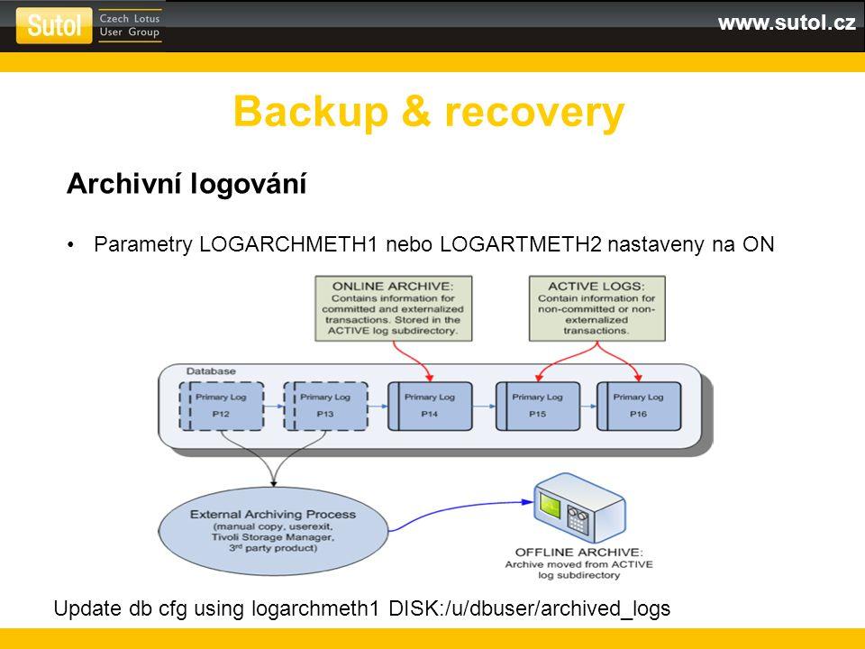 www.sutol.cz Backup & recovery Archivní logování Parametry LOGARCHMETH1 nebo LOGARTMETH2 nastaveny na ON Update db cfg using logarchmeth1 DISK:/u/dbus