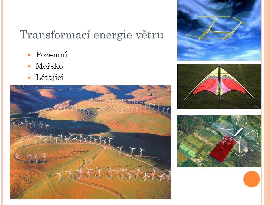 Transformací energie větru Pozemní Mořské Létající