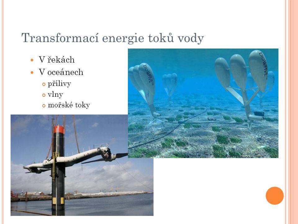 Transformací energie toků vody V řekách V oceánech přílivy vlny mořské toky