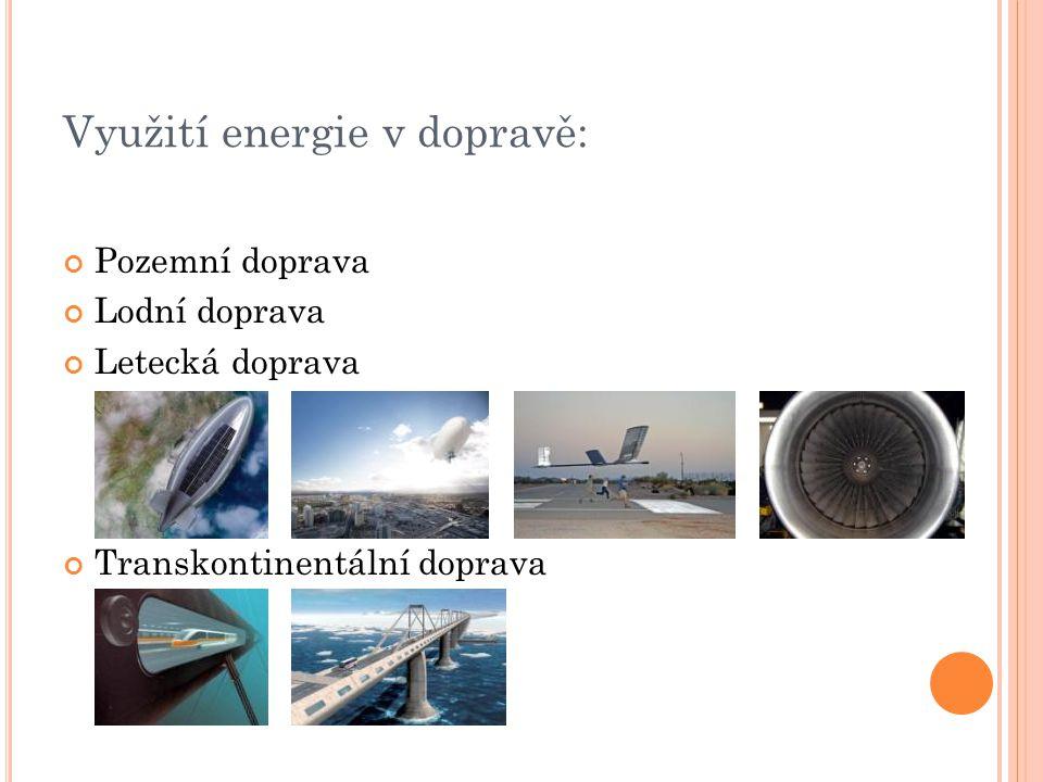 Využití energie v dopravě: Pozemní doprava Lodní doprava Letecká doprava Transkontinentální doprava