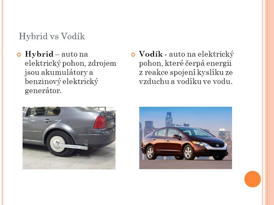 Hybrid vs Vodík Hybrid – auto na elektrický pohon, zdrojem jsou akumulátory a benzinový elektrický generátor.