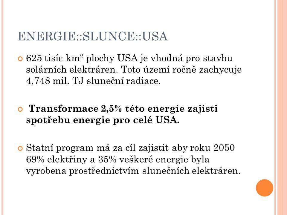 ENERGIE::SLUNCE::USA 625 tisíc km 2 plochy USA je vhodná pro stavbu solárních elektráren.