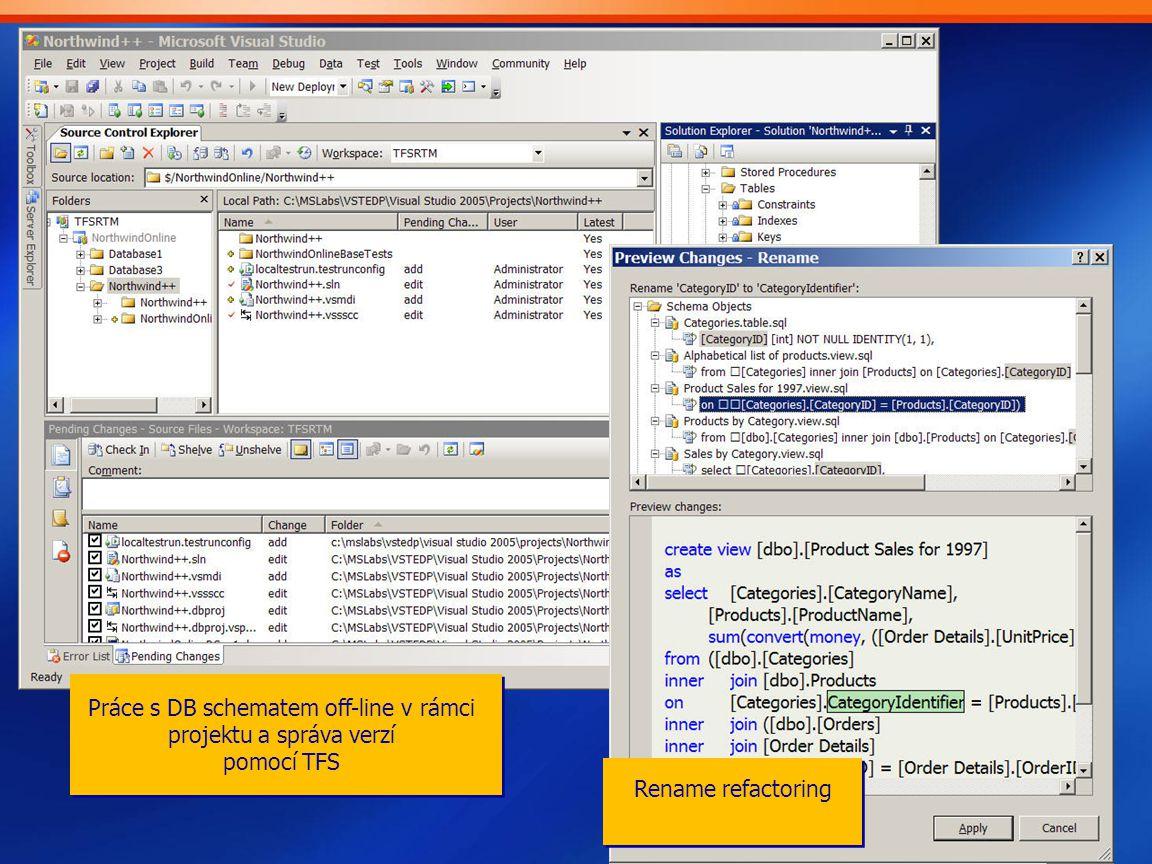 Rename refactoring Práce s DB schematem off-line v rámci projektu a správa verzí pomocí TFS