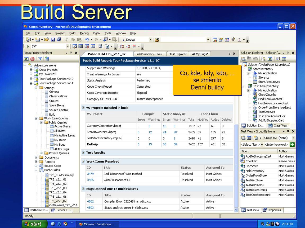 Build Server Build Server Co, kde, kdy, kdo, … se změnilo Denní buildy Co, kde, kdy, kdo, … se změnilo Denní buildy