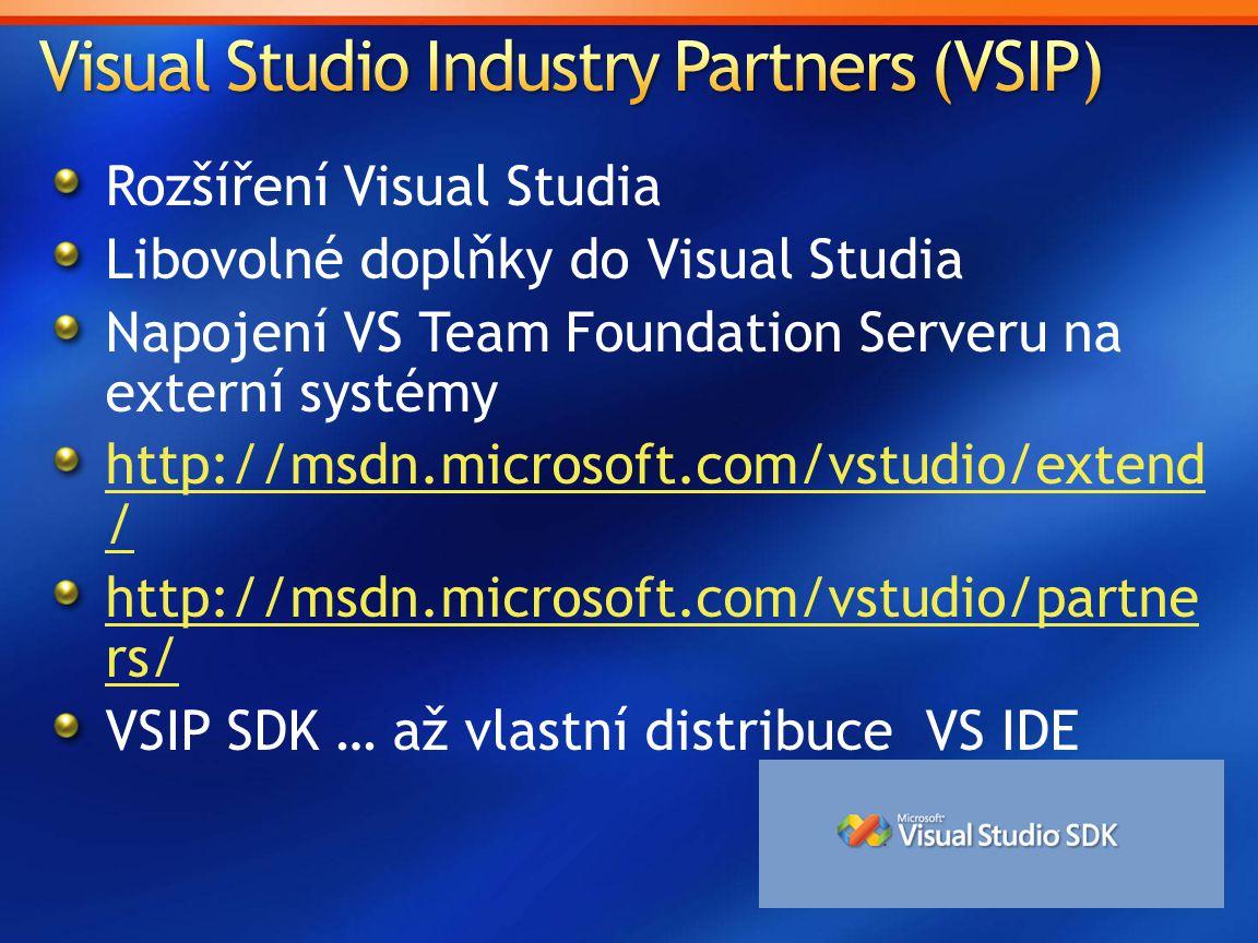Rozšíření Visual Studia Libovolné doplňky do Visual Studia Napojení VS Team Foundation Serveru na externí systémy http://msdn.microsoft.com/vstudio/extend / http://msdn.microsoft.com/vstudio/partne rs/ VSIP SDK … až vlastní distribuce VS IDE