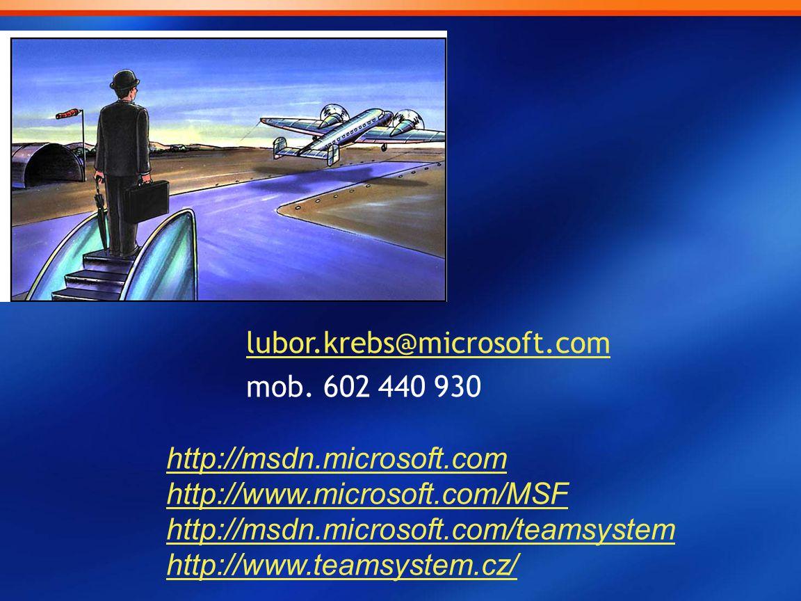 lubor.krebs@microsoft.com mob. 602 440 930 http://msdn.microsoft.com http://www.microsoft.com/MSF http://msdn.microsoft.com/teamsystem http://www.team