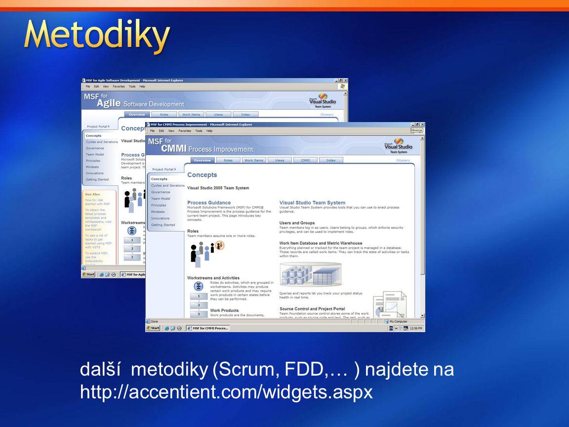 další metodiky (Scrum, FDD,… ) najdete na http://accentient.com/widgets.aspx