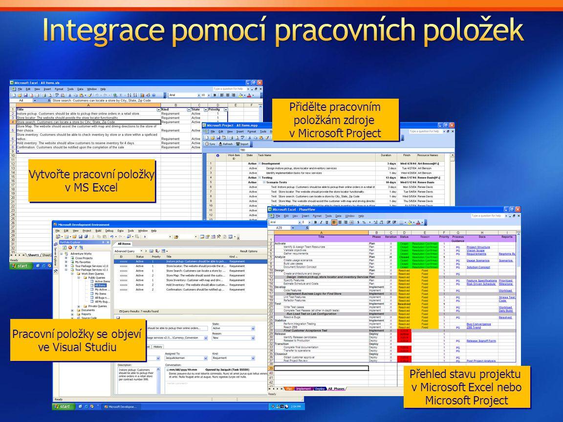 Vytvořte pracovní položky v MS Excel Vytvořte pracovní položky v MS Excel Pracovní položky se objeví ve Visual Studiu Pracovní položky se objeví ve Vi