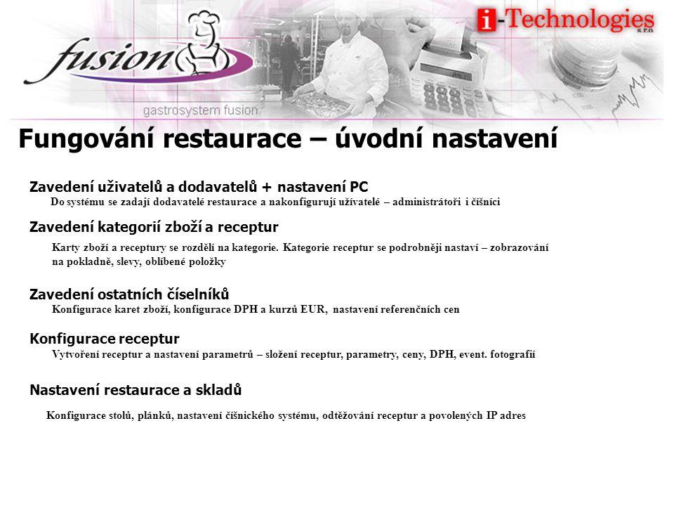 Fungování restaurace – úvodní nastavení Zavedení uživatelů a dodavatelů + nastavení PC Zavedení kategorií zboží a receptur Zavedení ostatních číselníků Konfigurace receptur Nastavení restaurace a skladů Do systému se zadají dodavatelé restaurace a nakonfigurují užívatelé – administrátoři i číšníci Karty zboží a receptury se rozdělí na kategorie.