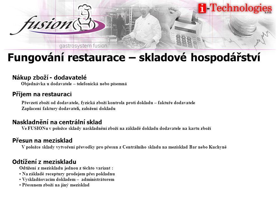 Fungování restaurace – skladové hospodářství Nákup zboží - dodavatelé Příjem na restauraci Naskladnění na centrální sklad Přesun na mezisklad Odtížení