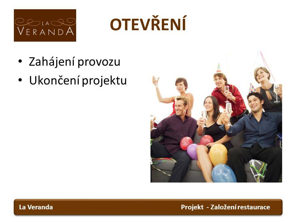 OTEVŘENÍ Zahájení provozu Ukončení projektu Projekt - Založení restauraceLa Veranda