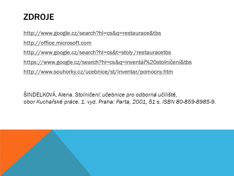 ZDROJE http://www.google.cz/search?hl=cs&q=restaurace&tbs http://office.microsoft.com http://www.google.cz/search?hl=cs&t=stoly /restauracetbs https:/