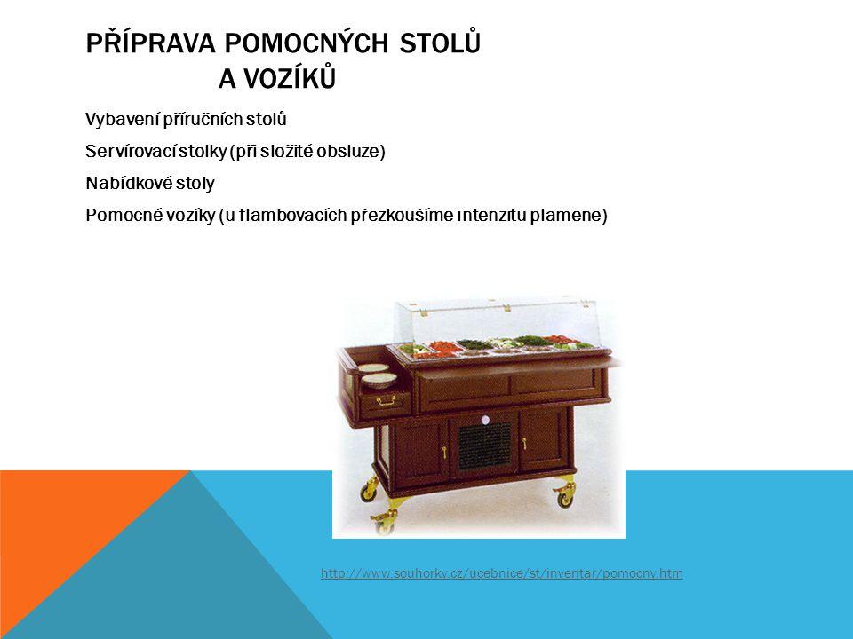 PŘÍPRAVA POMOCNÝCH STOLŮ A VOZÍKŮ Vybavení příručních stolů Servírovací stolky (při složité obsluze) Nabídkové stoly Pomocné vozíky (u flambovacích př