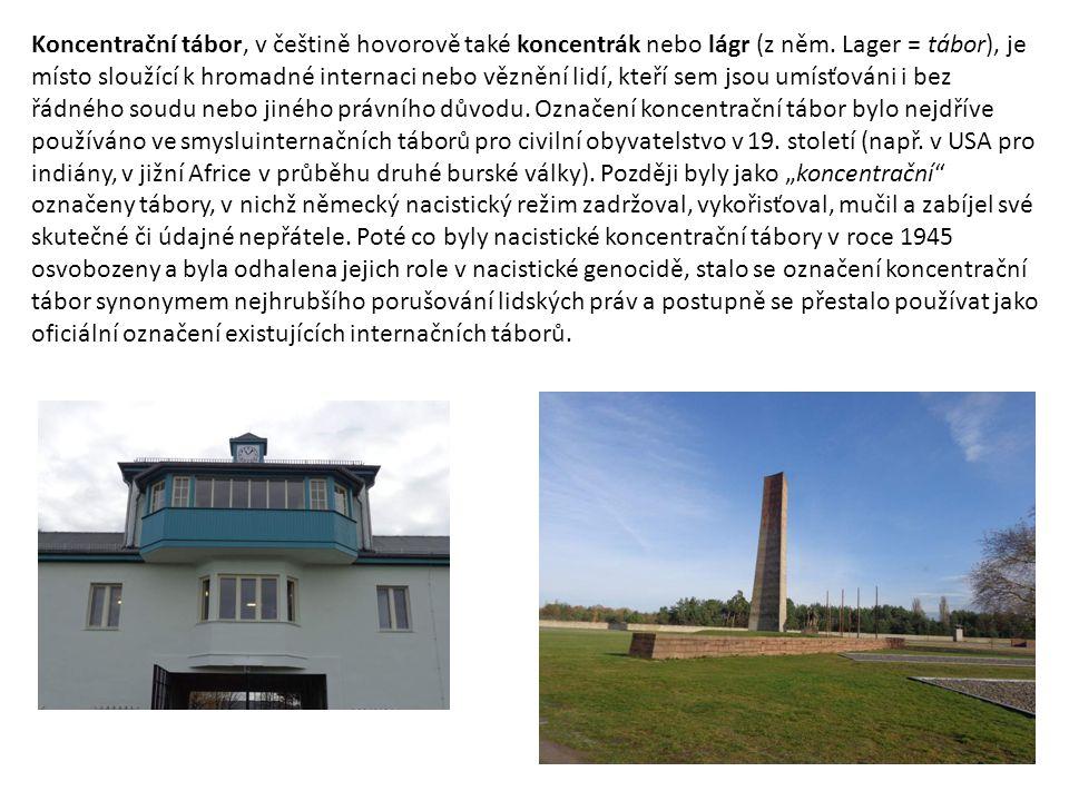 Koncentrační tábor, v češtině hovorově také koncentrák nebo lágr (z něm. Lager = tábor), je místo sloužící k hromadné internaci nebo věznění lidí, kte
