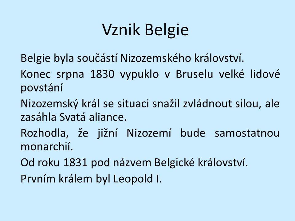 Vznik Belgie Belgie byla součástí Nizozemského království. Konec srpna 1830 vypuklo v Bruselu velké lidové povstání Nizozemský král se situaci snažil