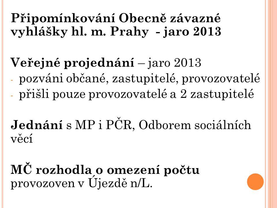 Připomínkování Obecně závazné vyhlášky hl. m. Prahy - jaro 2013 Veřejné projednání – jaro 2013 - pozváni občané, zastupitelé, provozovatelé - přišli p
