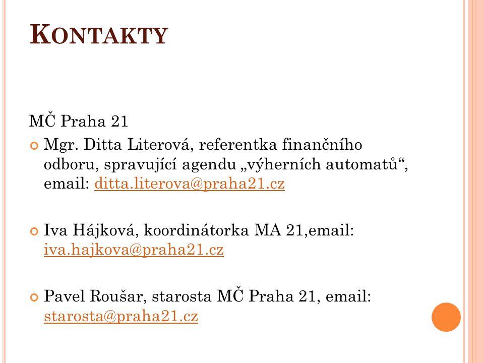 """K ONTAKTY MČ Praha 21 Mgr. Ditta Literová, referentka finančního odboru, spravující agendu """"výherních automatů"""", email: ditta.literova@praha21.czditta"""