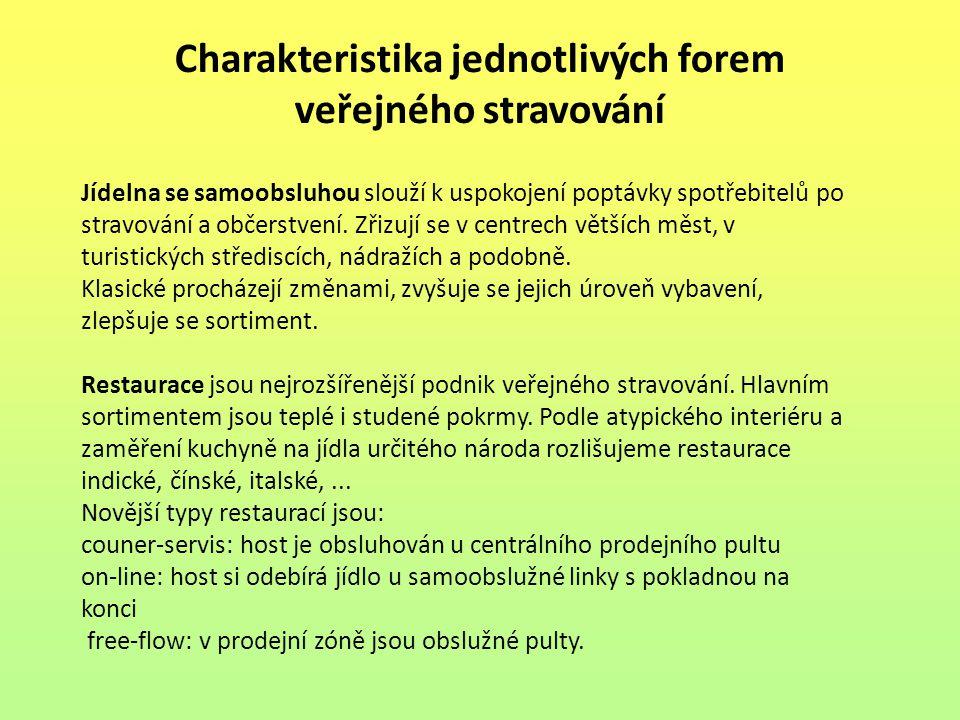 Charakteristika jednotlivých forem veřejného stravování Jídelna se samoobsluhou slouží k uspokojení poptávky spotřebitelů po stravování a občerstvení.