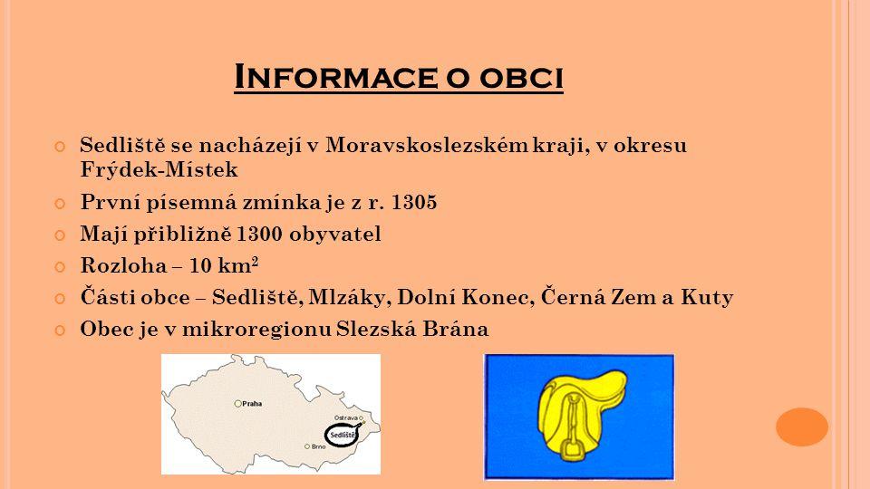 I NFORMACE O OBCI Sedliště se nacházejí v Moravskoslezském kraji, v okresu Frýdek-Místek První písemná zmínka je z r. 1305 Mají přibližně 1300 obyvate