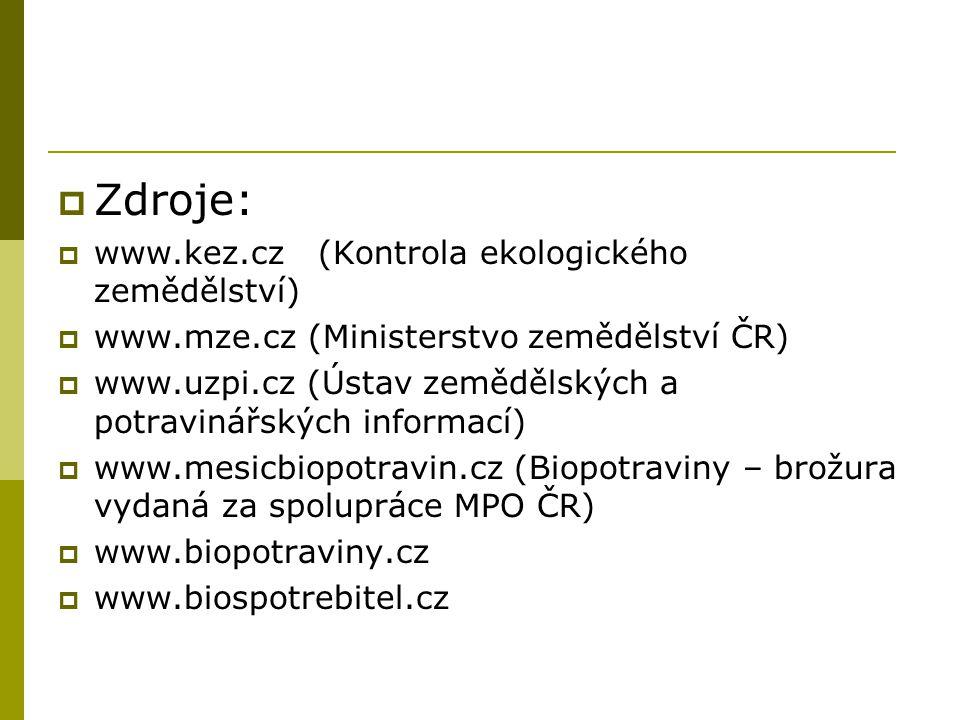  Zdroje:  www.kez.cz (Kontrola ekologického zemědělství)  www.mze.cz (Ministerstvo zemědělství ČR)  www.uzpi.cz (Ústav zemědělských a potravinářských informací)  www.mesicbiopotravin.cz (Biopotraviny – brožura vydaná za spolupráce MPO ČR)  www.biopotraviny.cz  www.biospotrebitel.cz