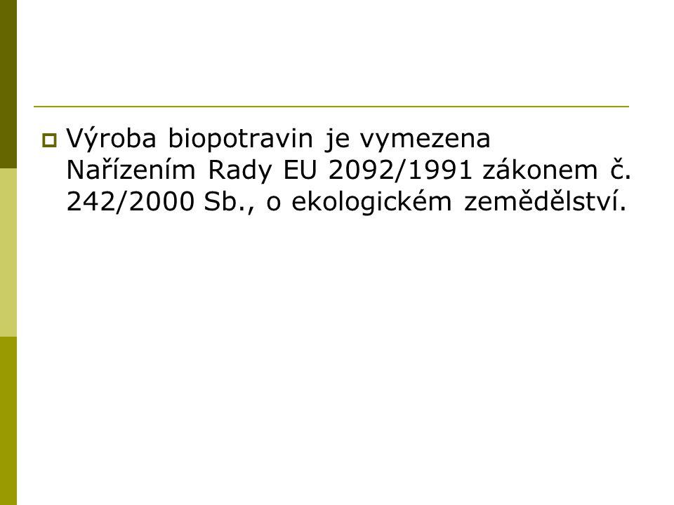  Výroba biopotravin je vymezena Nařízením Rady EU 2092/1991 zákonem č.