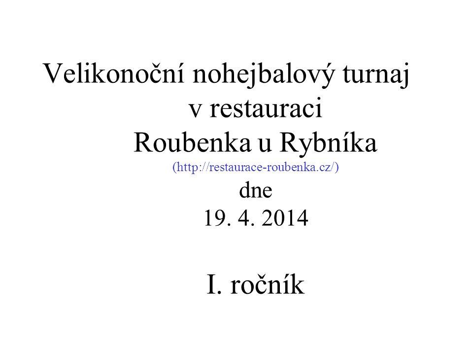 Velikonoční nohejbalový turnaj v restauraci Roubenka u Rybníka (http://restaurace-roubenka.cz/) dne 19. 4. 2014 I. ročník