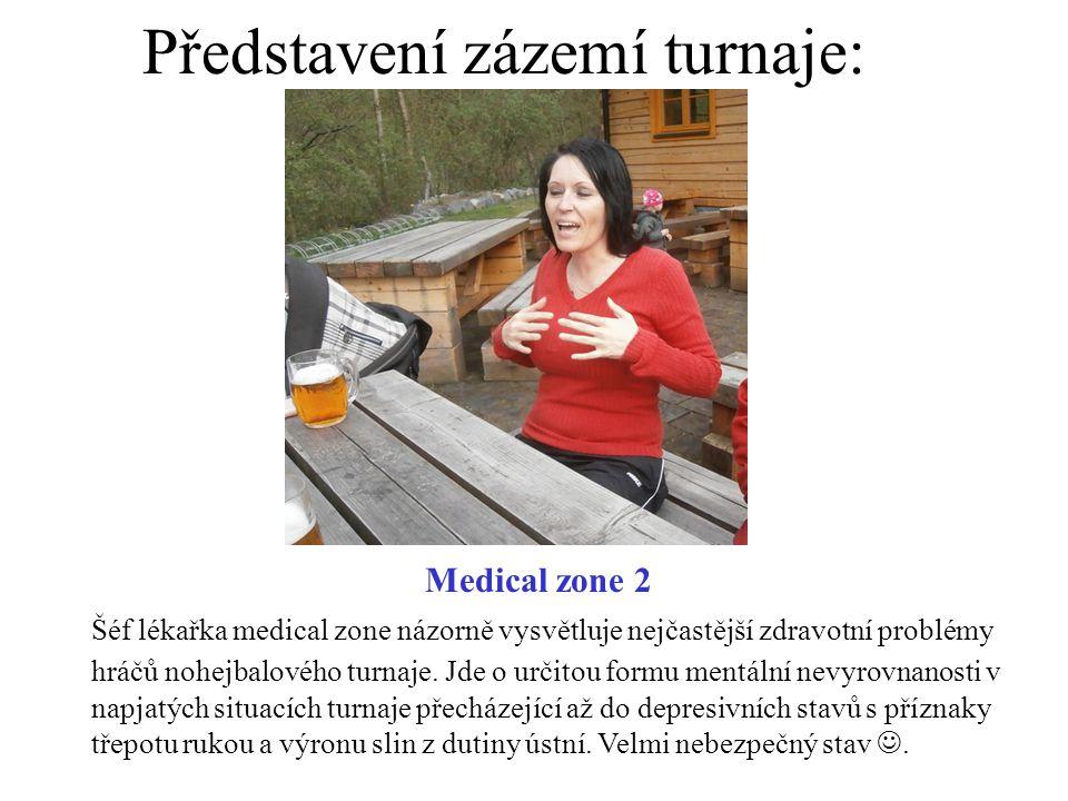 Představení zázemí turnaje: Medical zone 2 Šéf lékařka medical zone názorně vysvětluje nejčastější zdravotní problémy hráčů nohejbalového turnaje. Jde