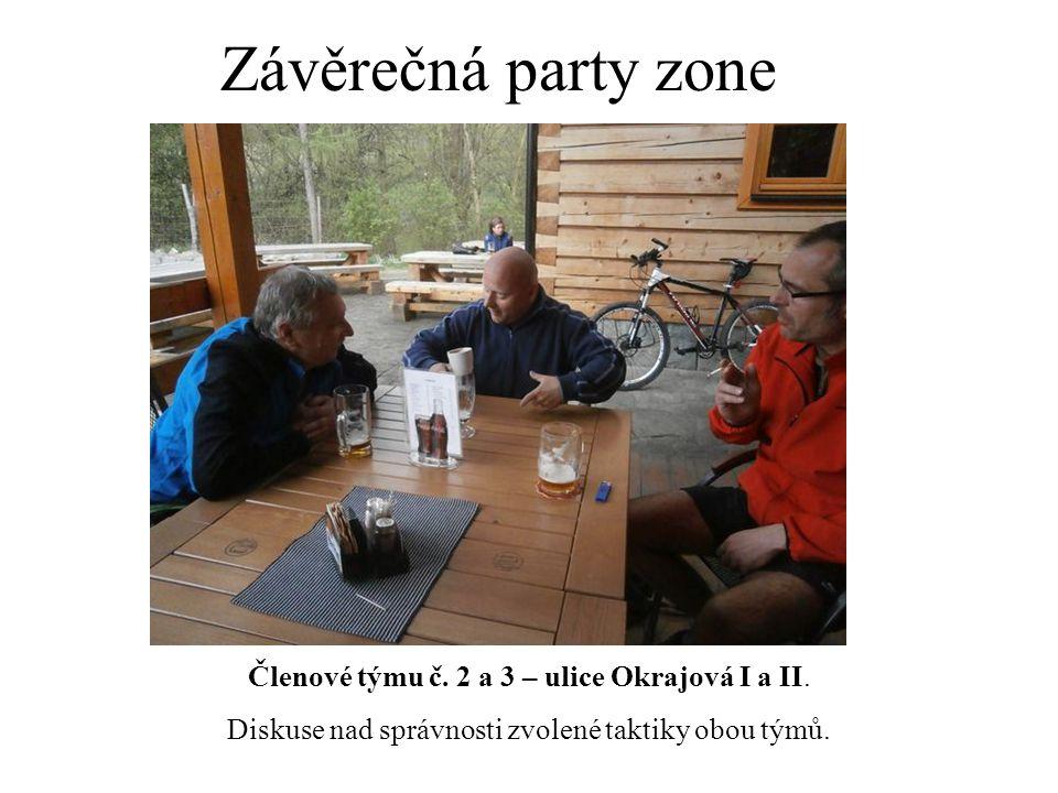 Závěrečná party zone Členové týmu č. 2 a 3 – ulice Okrajová I a II. Diskuse nad správnosti zvolené taktiky obou týmů.