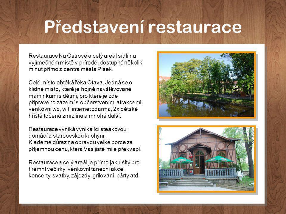 P ř edstavení restaurace Restaurace Na Ostrově a celý areál sídlí na vyjímečném místě v přírodě, dostupné několik minut přímo z centra města Písek.