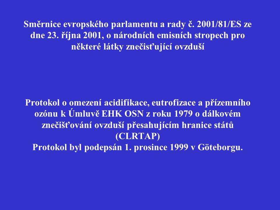 """Tímto nařízením se stanoví:  hodnoty emisních stropů pro oxid siřičitý, oxidy dusíku, těkavé organické látky a amoniak na území České republiky v roce 2010 (""""národní emisní stropy ) a pro území krajů ("""" krajské emisní stropy ) na rok 2010,  směrné cílové hodnoty pro omezení acidifikace a zatížení přízemním ozonem,  náležitosti provádění emisních inventur a emisních projekcí."""