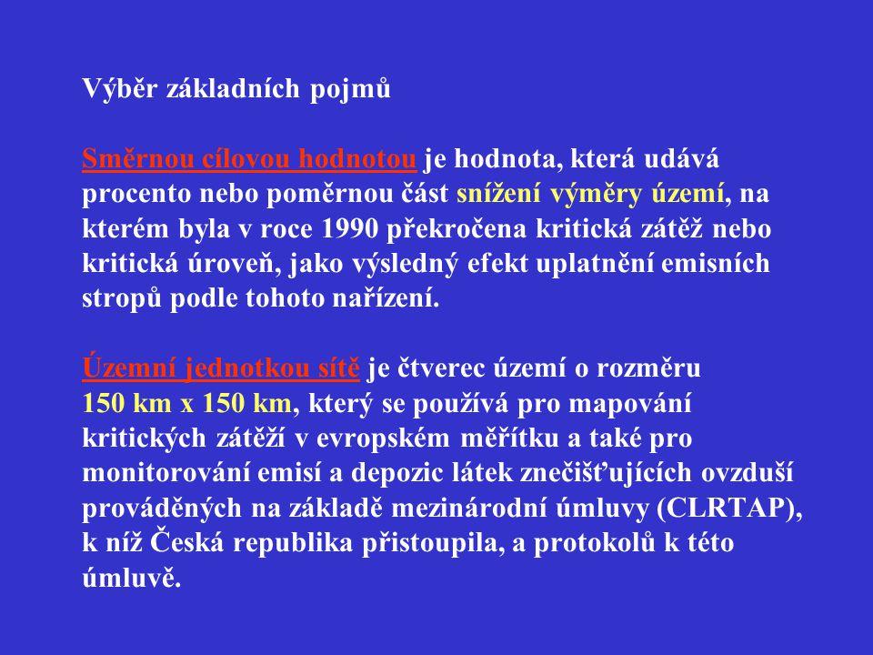 Výběr základních pojmů Národním emisním stropem je nejvyšší množství znečišťující látky vyjádřené v kilotunách, které může být v České republice emitováno během daného kalendářního roku.