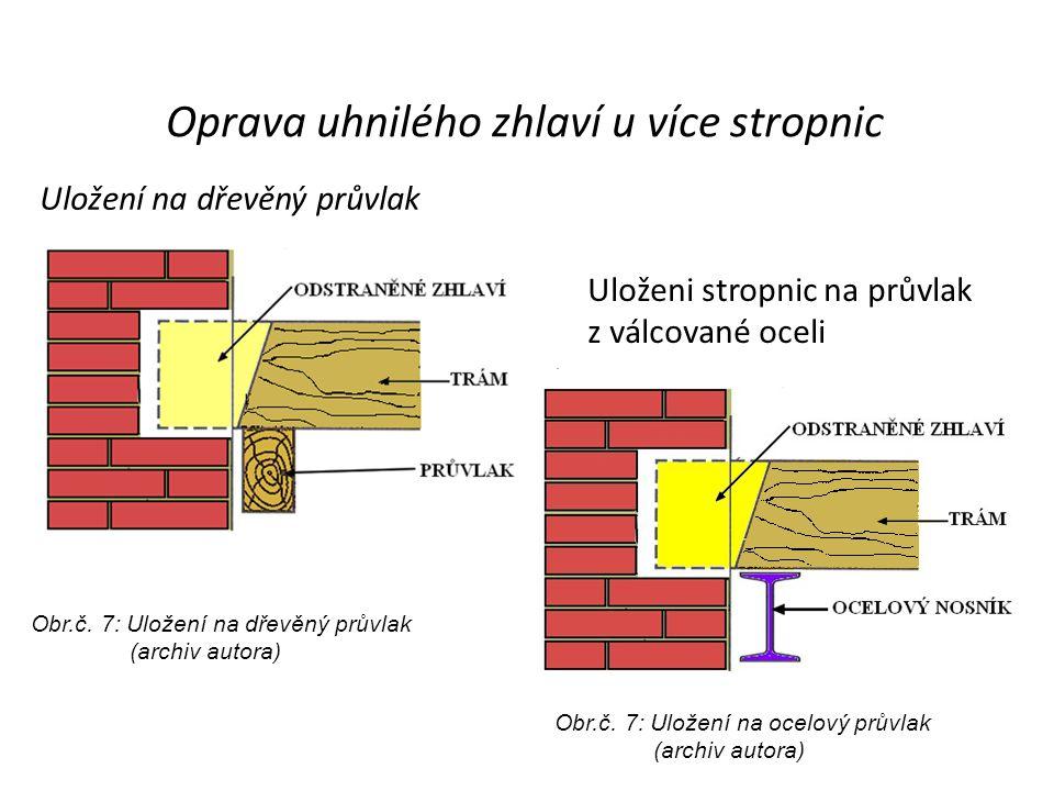 Uložení na dřevěný průvlak Uloženi stropnic na průvlak z válcované oceli Oprava uhnilého zhlaví u více stropnic Obr.č. 7: Uložení na dřevěný průvlak (