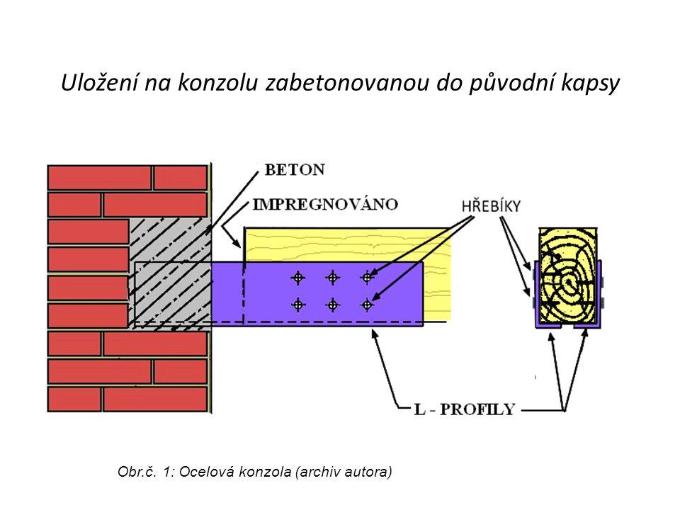 Uložení na konzolu zabetonovanou do původní kapsy Obr.č. 1: Ocelová konzola (archiv autora)