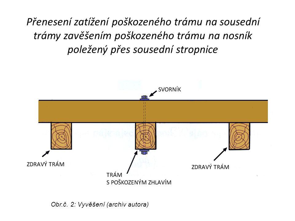 Přenesení zatížení poškozeného trámu na sousední trámy zavěšením poškozeného trámu na nosník poležený přes sousední stropnice Obr.č. 2: Vyvěšení (arch