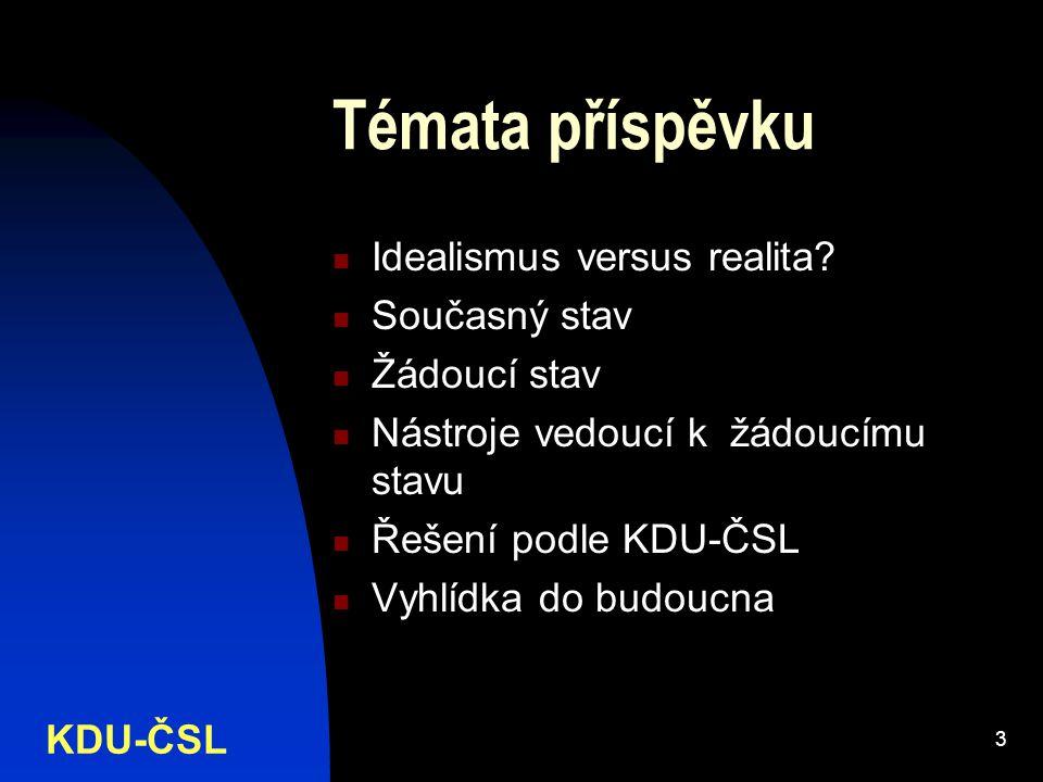 KDU-ČSL 3 Témata příspěvku Idealismus versus realita.
