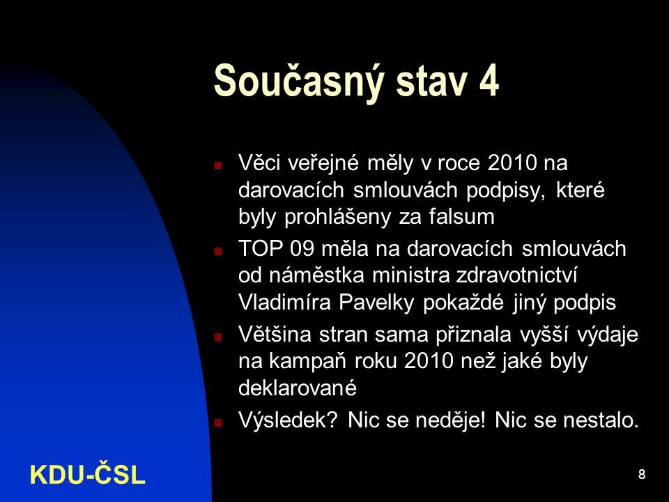 KDU-ČSL 8 Současný stav 4 Věci veřejné měly v roce 2010 na darovacích smlouvách podpisy, které byly prohlášeny za falsum TOP 09 měla na darovacích smlouvách od náměstka ministra zdravotnictví Vladimíra Pavelky pokaždé jiný podpis Většina stran sama přiznala vyšší výdaje na kampaň roku 2010 než jaké byly deklarované Výsledek.